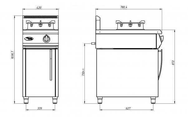 Плита газовая WOK Ф1ДГ/800(на подставке, для WOK сковород Grill Master