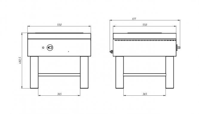 Плита 1-конфорочная Ф1пЭ(1 конфорка,550х550) Grill Master