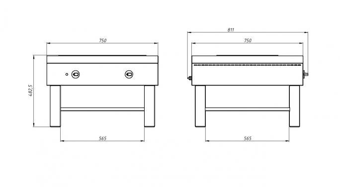 Плита 2-конфорочная Ф1пэ (2 конфорки, плита-тумба) Grill Master