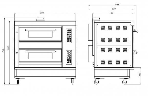 Подовый пекарский  газовый шкаф с электронным управлением ШЖГ/2 (температурный режим до 400С) Grill Master