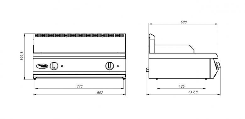 Жарочная поверхность (американский гриль) Ф2ЖГЭ/600  (настольный вариант) Grill Master