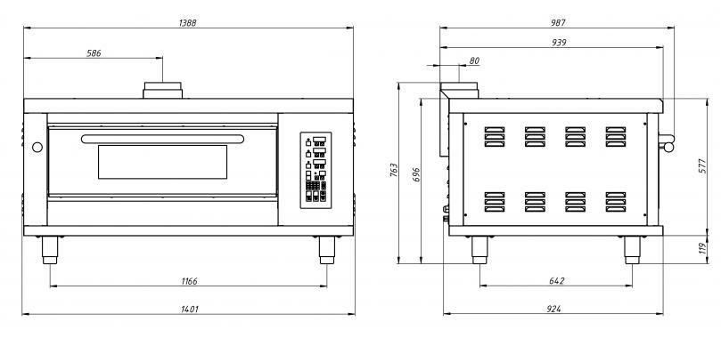 Шкаф пекарский подовый газовый ШЖГ/1 (2 противня, +400С) Grill Master