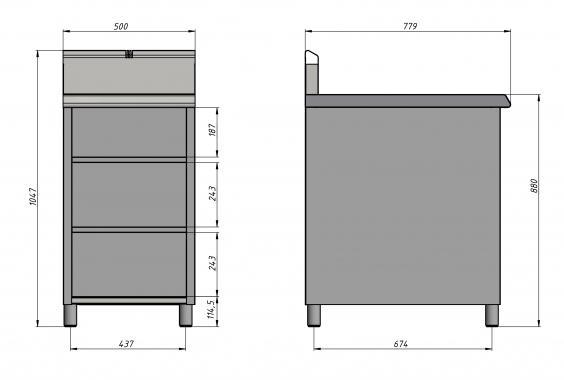 Стол-тумба 800 серии (500х800 мм) Grill Master